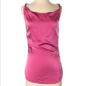 Rozae Nichols Hot Pink Fuchsia silk top sz P